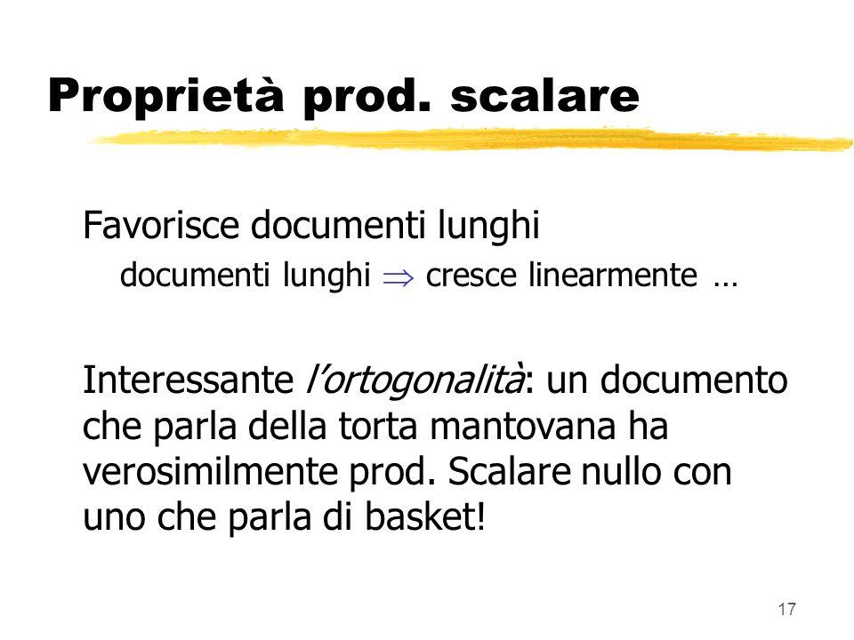 17 Proprietà prod. scalare Favorisce documenti lunghi documenti lunghi cresce linearmente … Interessante lortogonalità: un documento che parla della t