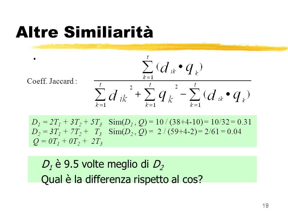 19 Altre Similiarità. D 1 = 2T 1 + 3T 2 + 5T 3 Sim(D 1, Q) = 10 / (38+4-10) = 10/32 = 0.31 D 2 = 3T 1 + 7T 2 + T 3 Sim(D 2, Q) = 2 / (59+4-2) = 2/61 =