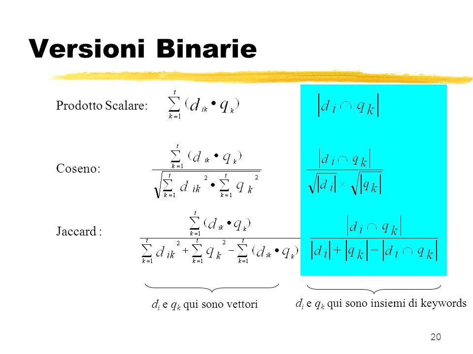 20 Versioni Binarie Prodotto Scalare: Coseno: Jaccard : d i e q k qui sono insiemi di keywords d i e q k qui sono vettori