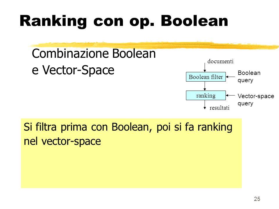 25 Ranking con op. Boolean Si filtra prima con Boolean, poi si fa ranking nel vector-space Combinazione Boolean e Vector-Space Boolean filter ranking