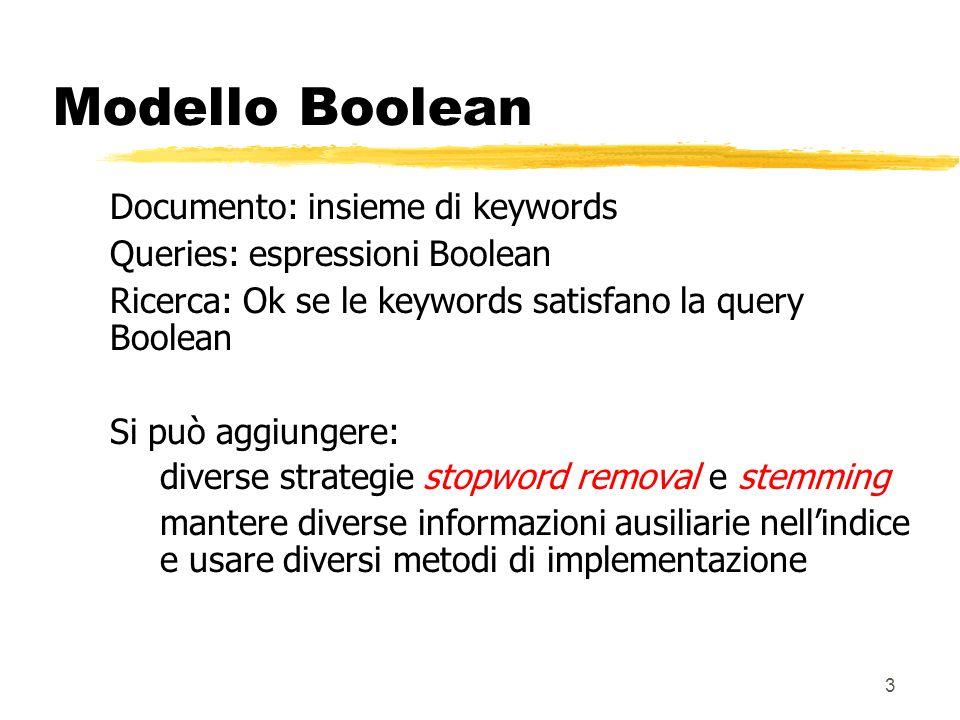3 Documento: insieme di keywords Queries: espressioni Boolean Ricerca: Ok se le keywords satisfano la query Boolean Si può aggiungere: diverse strateg