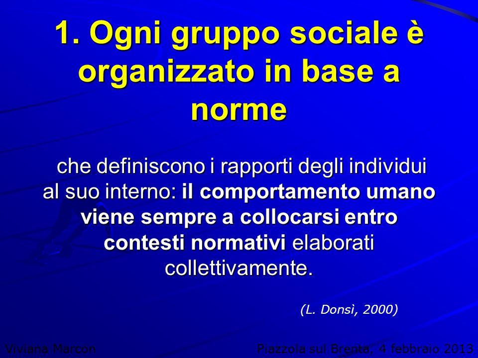 1. Ogni gruppo sociale è organizzato in base a norme che definiscono i rapporti degli individui al suo interno: il comportamento umano viene sempre a