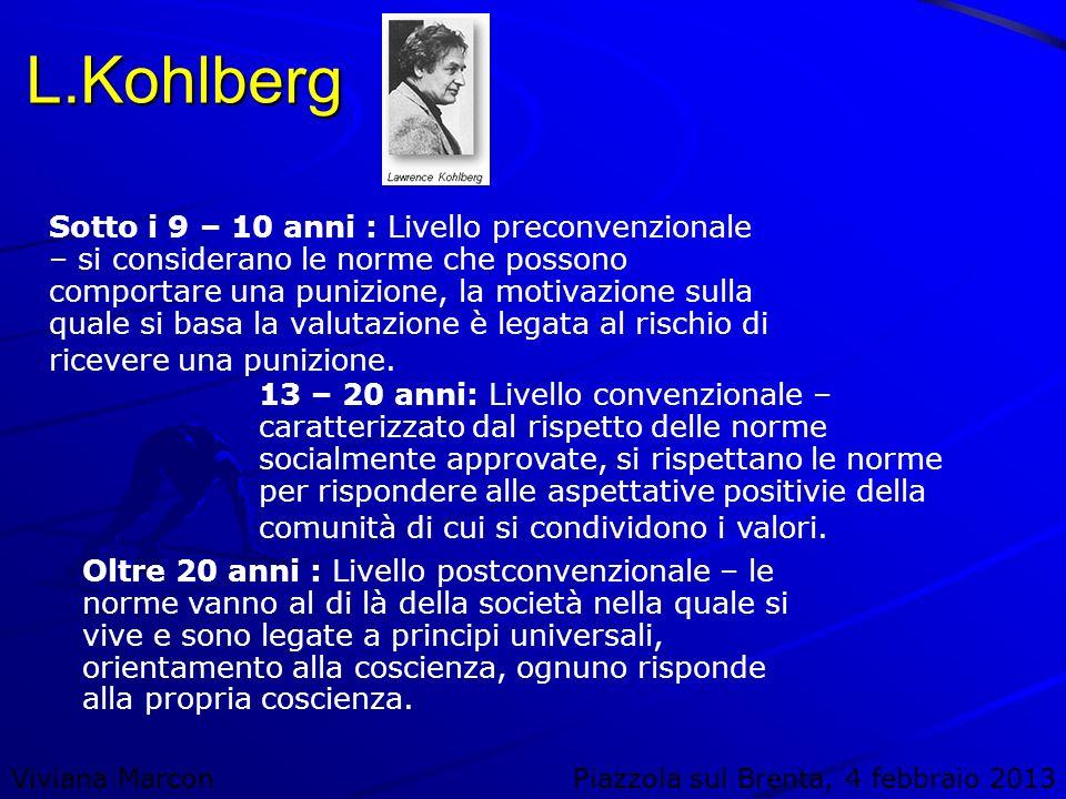 Viviana MarconPiazzola sul Brenta, 4 febbraio 2013 L.Kohlberg Sotto i 9 – 10 anni : Livello preconvenzionale – si considerano le norme che possono com