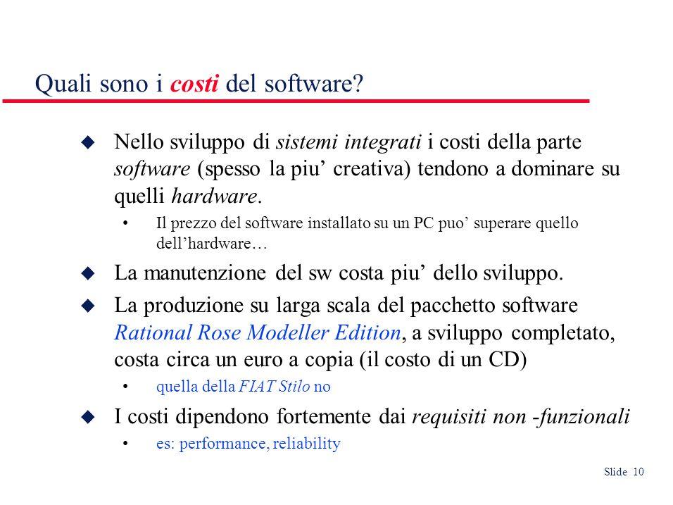 Slide 10 Nello sviluppo di sistemi integrati i costi della parte software (spesso la piu creativa) tendono a dominare su quelli hardware.