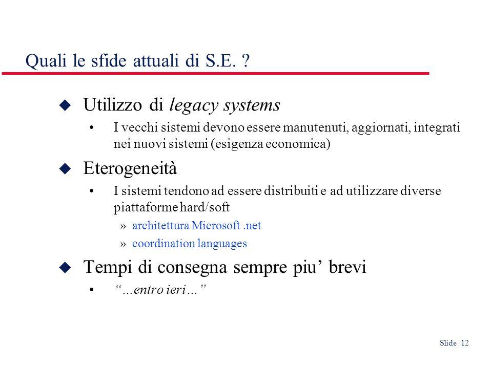 Slide 12 Quali le sfide attuali di S.E.