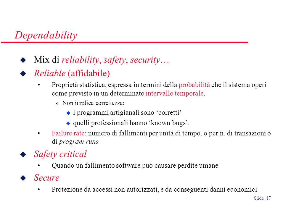Slide 17 Dependability Mix di reliability, safety, security… Reliable (affidabile) Proprietà statistica, espressa in termini della probabilità che il sistema operi come previsto in un determinato intervallo temporale.