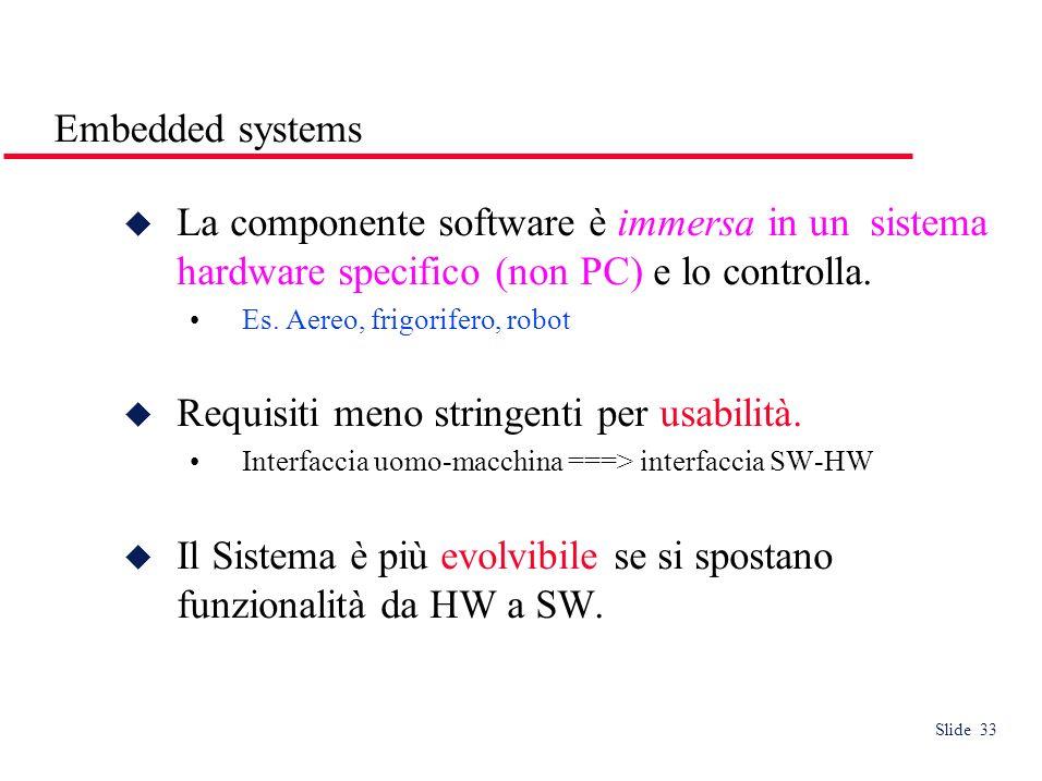 Slide 33 Embedded systems La componente software è immersa in un sistema hardware specifico (non PC) e lo controlla.
