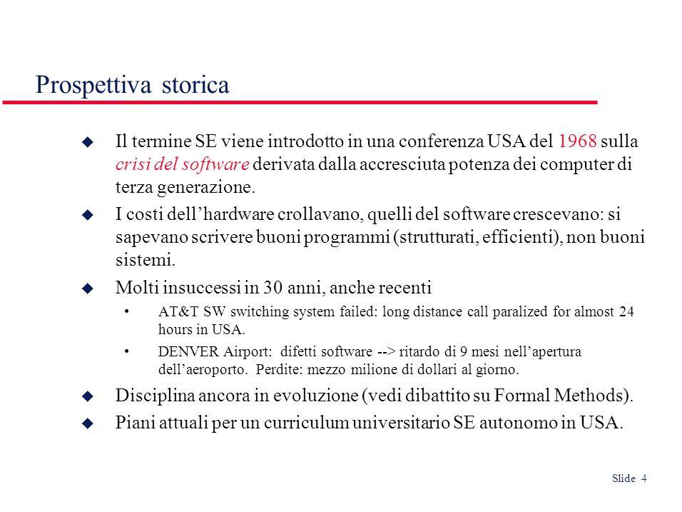 Slide 4 Prospettiva storica Il termine SE viene introdotto in una conferenza USA del 1968 sulla crisi del software derivata dalla accresciuta potenza dei computer di terza generazione.