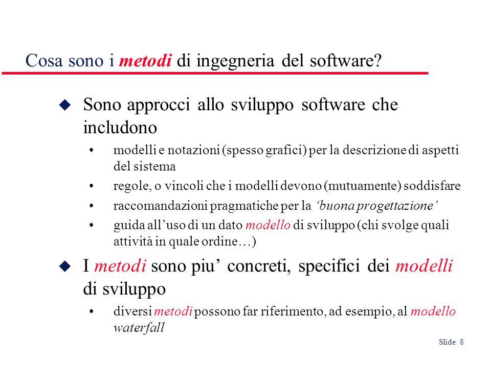 Slide 9 Cosa è il CASE (Computer-Aided Software Engineering) Strumenti (software) per il supporto semi- automatico di attività del processo software.