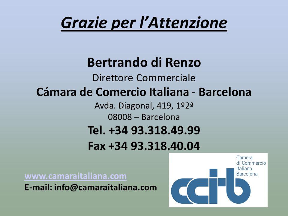 Grazie per lAttenzione Bertrando di Renzo Direttore Commerciale Cámara de Comercio Italiana - Barcelona Avda. Diagonal, 419, 1º2ª 08008 – Barcelona Te