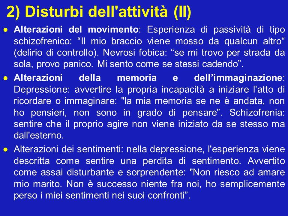 2) Disturbi dell'attività (II) Alterazioni del movimento: Esperienza di passività di tipo schizofrenico: Il mio braccio viene mosso da qualcun altro (