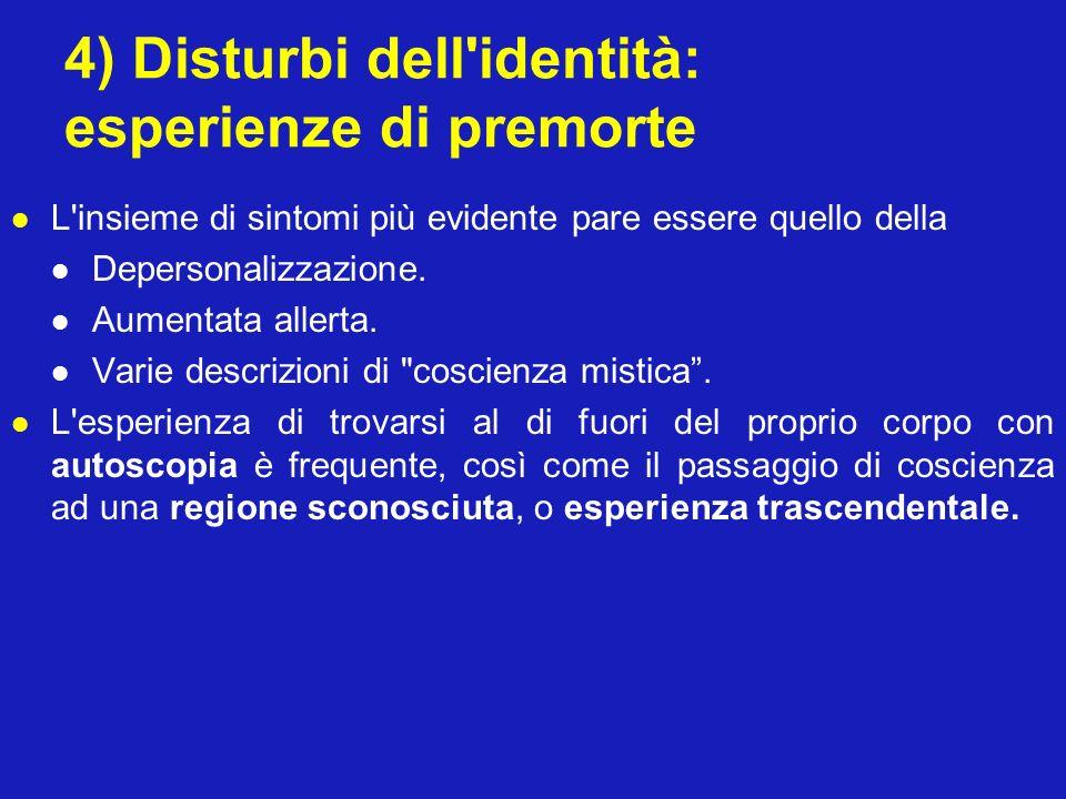4) Disturbi dell'identità: esperienze di premorte L'insieme di sintomi più evidente pare essere quello della Depersonalizzazione. Aumentata allerta. V