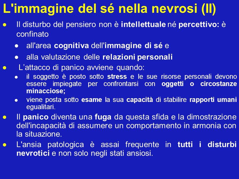 L'immagine del sé nella nevrosi (II) Il disturbo del pensiero non è intellettuale né percettivo: è confinato all'area cognitiva dell'immagine di sé e