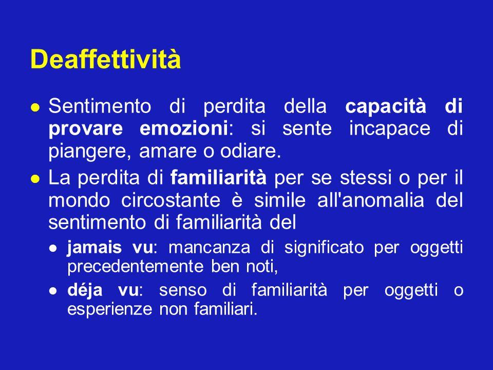 Deaffettività Sentimento di perdita della capacità di provare emozioni: si sente incapace di piangere, amare o odiare. La perdita di familiarità per s