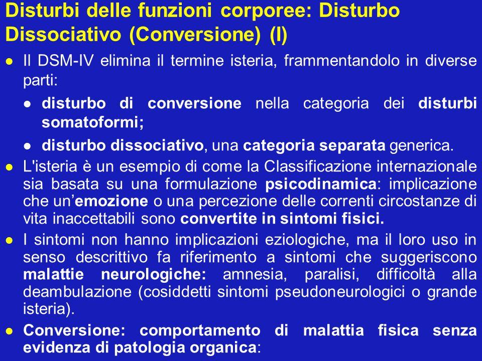 Disturbi delle funzioni corporee: Disturbo Dissociativo (Conversione) (I) Il DSM-IV elimina il termine isteria, frammentandolo in diverse parti: distu