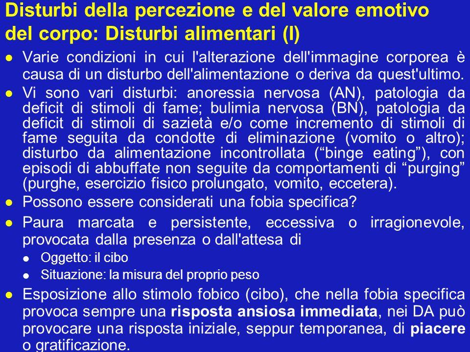 Disturbi della percezione e del valore emotivo del corpo: Disturbi alimentari (I) Varie condizioni in cui l'alterazione dell'immagine corporea è causa