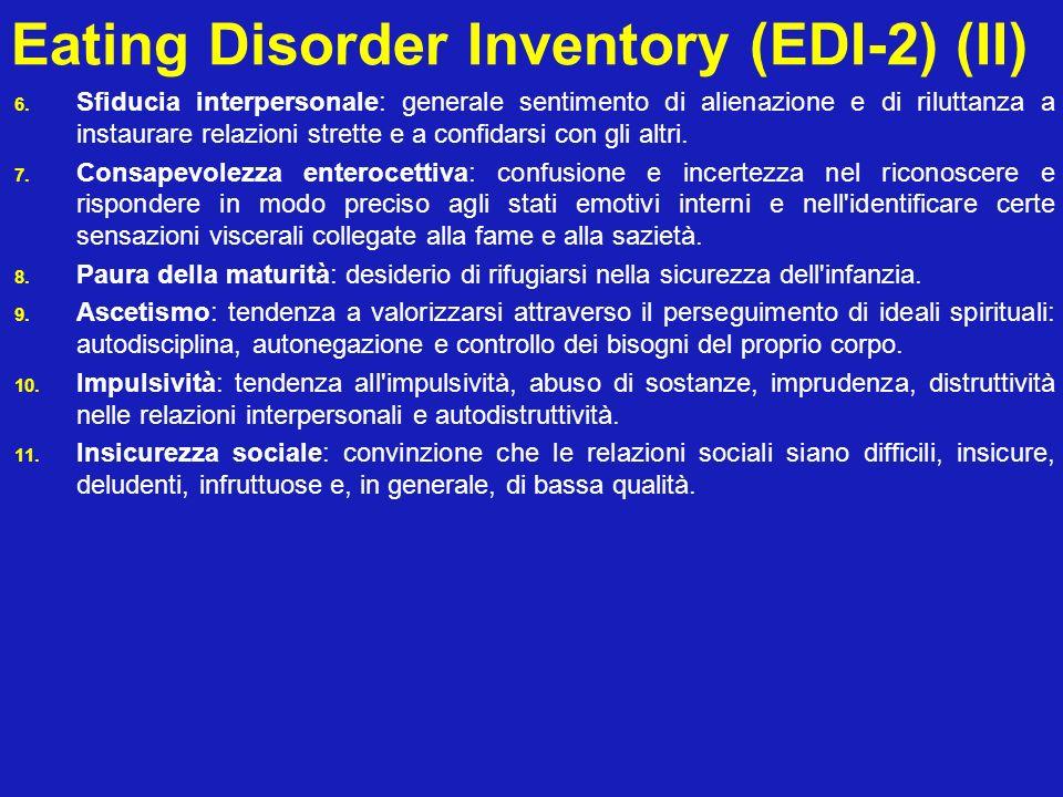 Eating Disorder Inventory (EDI-2) (II) 6. Sfiducia interpersonale: generale sentimento di alienazione e di riluttanza a instaurare relazioni strette e