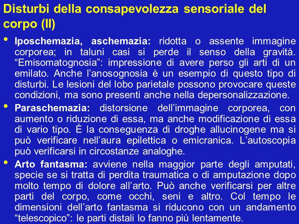 Disturbi della consapevolezza sensoriale del corpo (II) Iposchemazia, aschemazia: ridotta o assente immagine corporea; in taluni casi si perde il sens