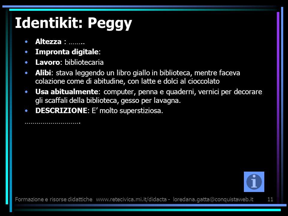 Formazione e risorse didattichewww.retecivica.mi.it/didacta - loredana.gatta@conquistaweb.it11 Identikit: Peggy Altezza : …….. Impronta digitale: Lavo