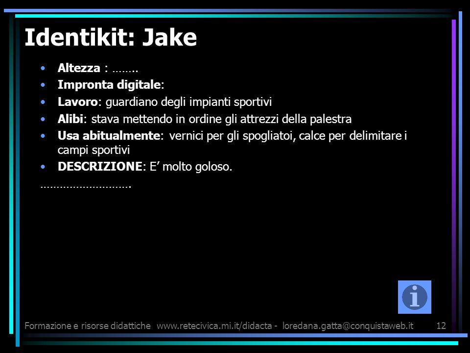 Formazione e risorse didattichewww.retecivica.mi.it/didacta - loredana.gatta@conquistaweb.it12 Identikit: Jake Altezza : …….. Impronta digitale: Lavor