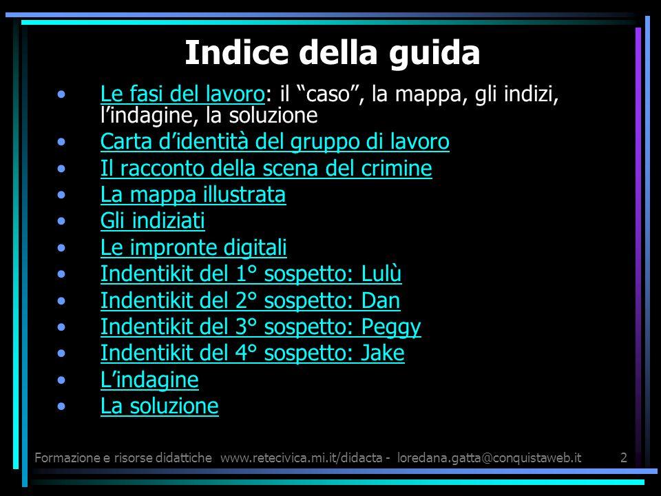 Formazione e risorse didattichewww.retecivica.mi.it/didacta - loredana.gatta@conquistaweb.it13 LINDAGINE DESCRIVI LINDAGINE: ……………………….