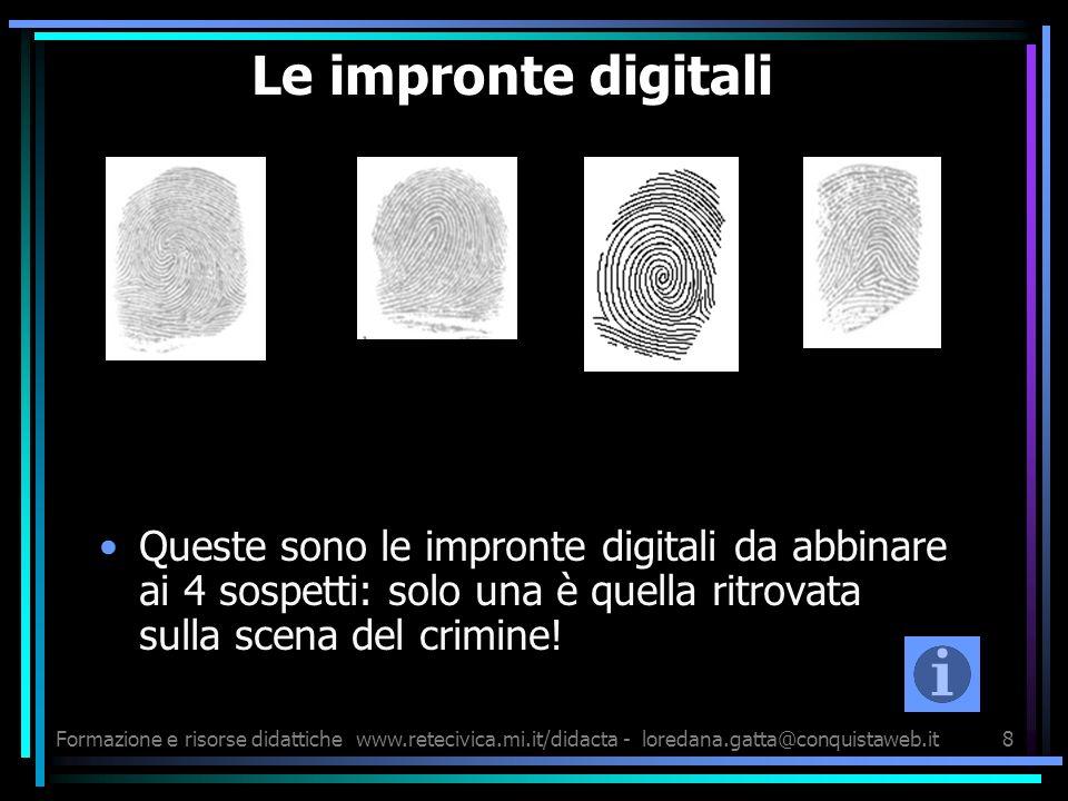 Formazione e risorse didattichewww.retecivica.mi.it/didacta - loredana.gatta@conquistaweb.it8 Le impronte digitali Queste sono le impronte digitali da abbinare ai 4 sospetti: solo una è quella ritrovata sulla scena del crimine!
