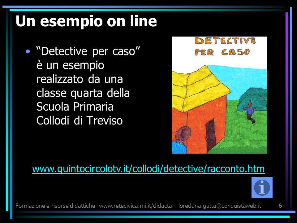 Formazione e risorse didattichewww.retecivica.mi.it/didacta - loredana.gatta@conquistaweb.it6 Un esempio on line Detective per caso è un esempio reali