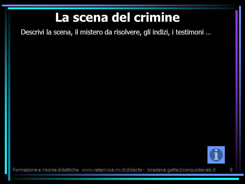 Formazione e risorse didattichewww.retecivica.mi.it/didacta - loredana.gatta@conquistaweb.it8 La scena del crimine Descrivi la scena, il mistero da ri