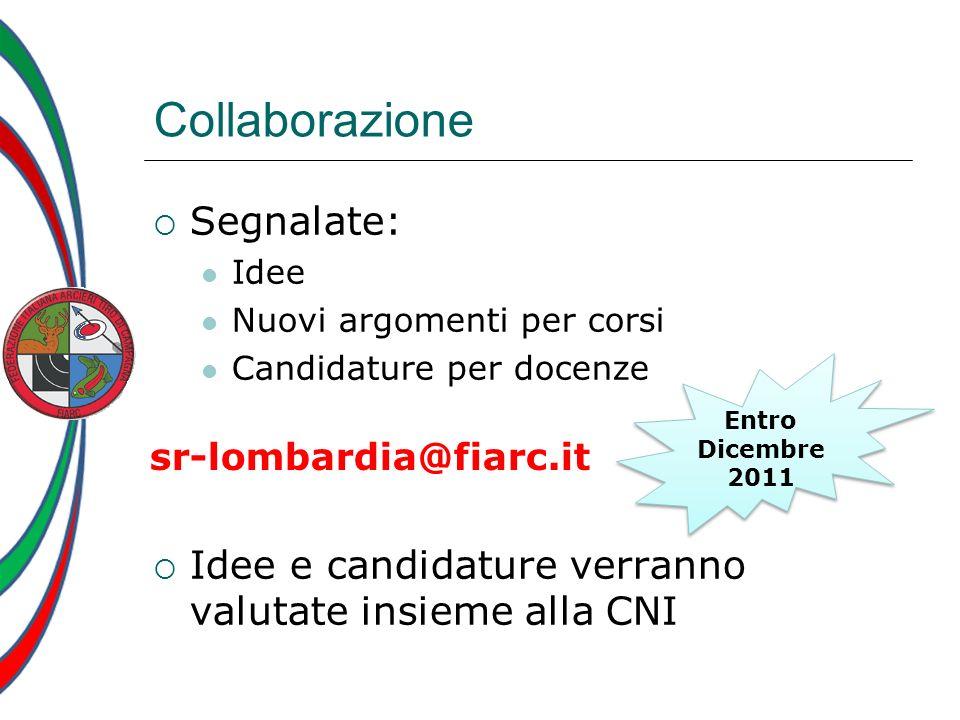 Collaborazione Segnalate: Idee Nuovi argomenti per corsi Candidature per docenze Idee e candidature verranno valutate insieme alla CNI Entro Dicembre