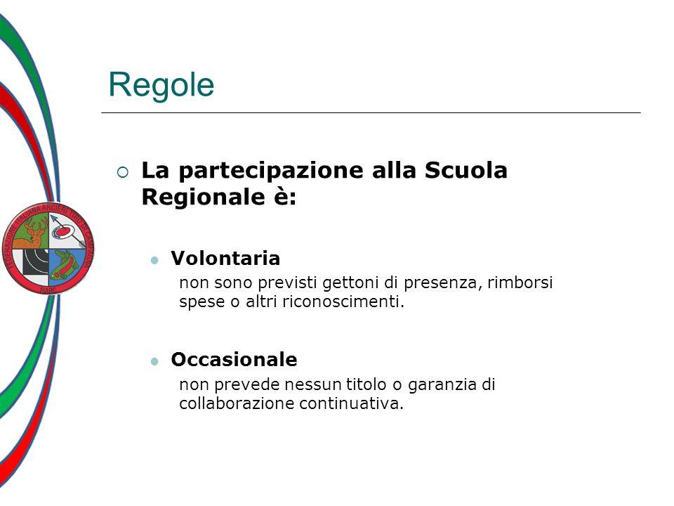 Regole La partecipazione alla Scuola Regionale è: Volontaria non sono previsti gettoni di presenza, rimborsi spese o altri riconoscimenti. Occasionale