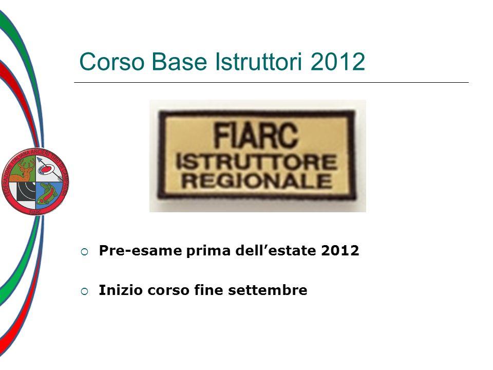 Corso Base Istruttori 2012 Pre-esame prima dellestate 2012 Inizio corso fine settembre
