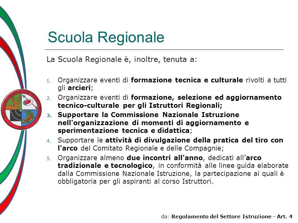 Scuola Regionale La Scuola Regionale è, inoltre, tenuta a: 1. Organizzare eventi di formazione tecnica e culturale rivolti a tutti gli arcieri; 2. Org