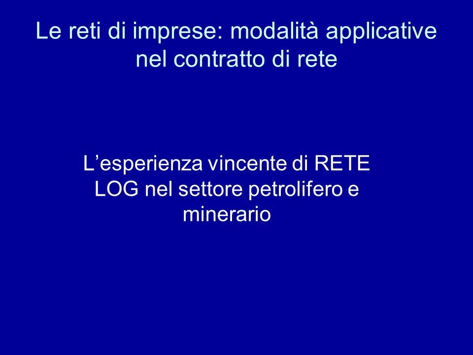 Le reti di imprese: modalità applicative nel contratto di rete Lesperienza vincente di RETE LOG nel settore petrolifero e minerario