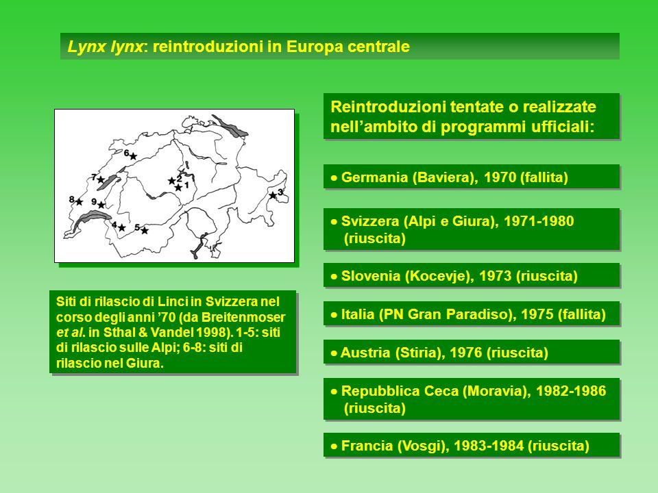 Lynx lynx: reintroduzioni in Europa centrale Siti di rilascio di Linci in Svizzera nel corso degli anni 70 (da Breitenmoser et al. in Sthal & Vandel 1