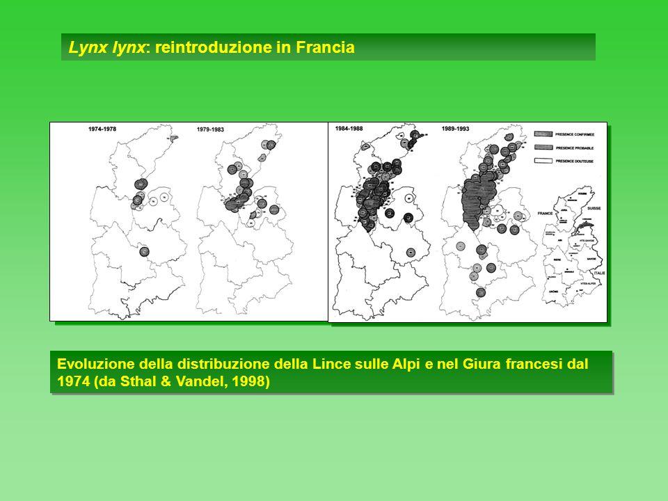 Lynx lynx: segnalazioni di presenza sulle Alpi occidentali (da Guidali et al., 1990) Legenda Retinato: distribuzione in Svizzera ed in Alta Savoia (Breitenmoser & Haller, 1987) Tondi retinati: dati di presenza in località di confine.