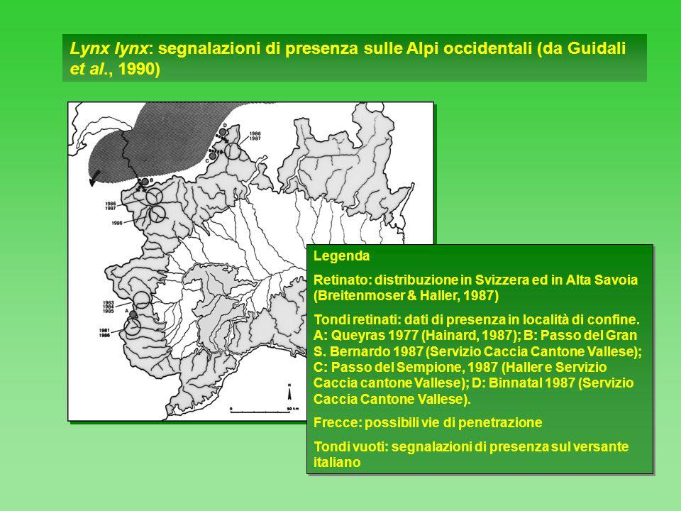 Lynx lynx: segnalazioni di presenza sulle Alpi occidentali (da Guidali et al., 1990) Legenda Retinato: distribuzione in Svizzera ed in Alta Savoia (Br