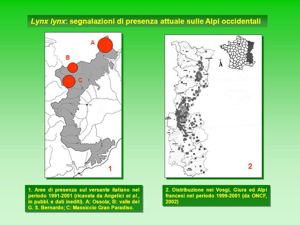 Lynx lynx: segnalazioni di presenza attuale sulle Alpi occidentali 2 1. Aree di presenza sul versante italiano nel periodo 1991-2001 (ricavata da Ange