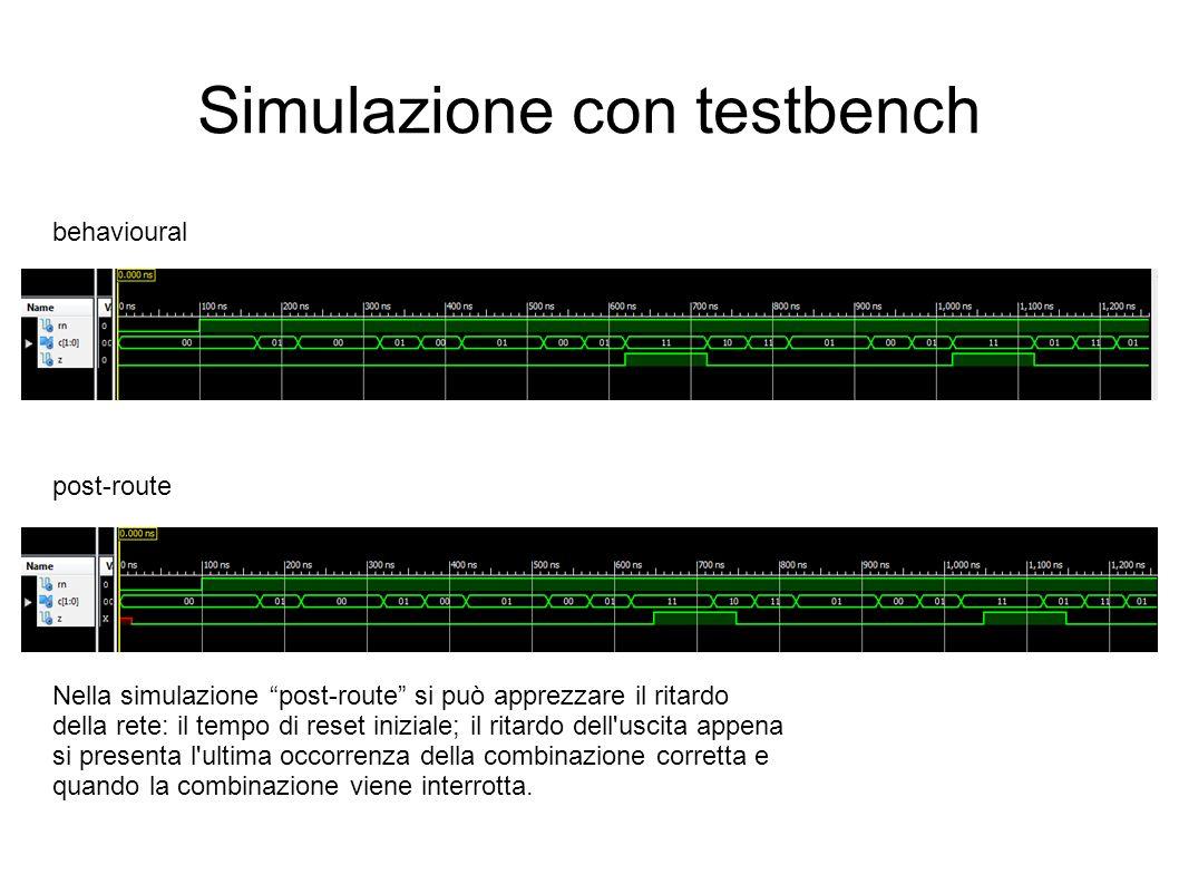 Simulazione con testbench behavioural post-route Nella simulazione post-route si può apprezzare il ritardo della rete: il tempo di reset iniziale; il