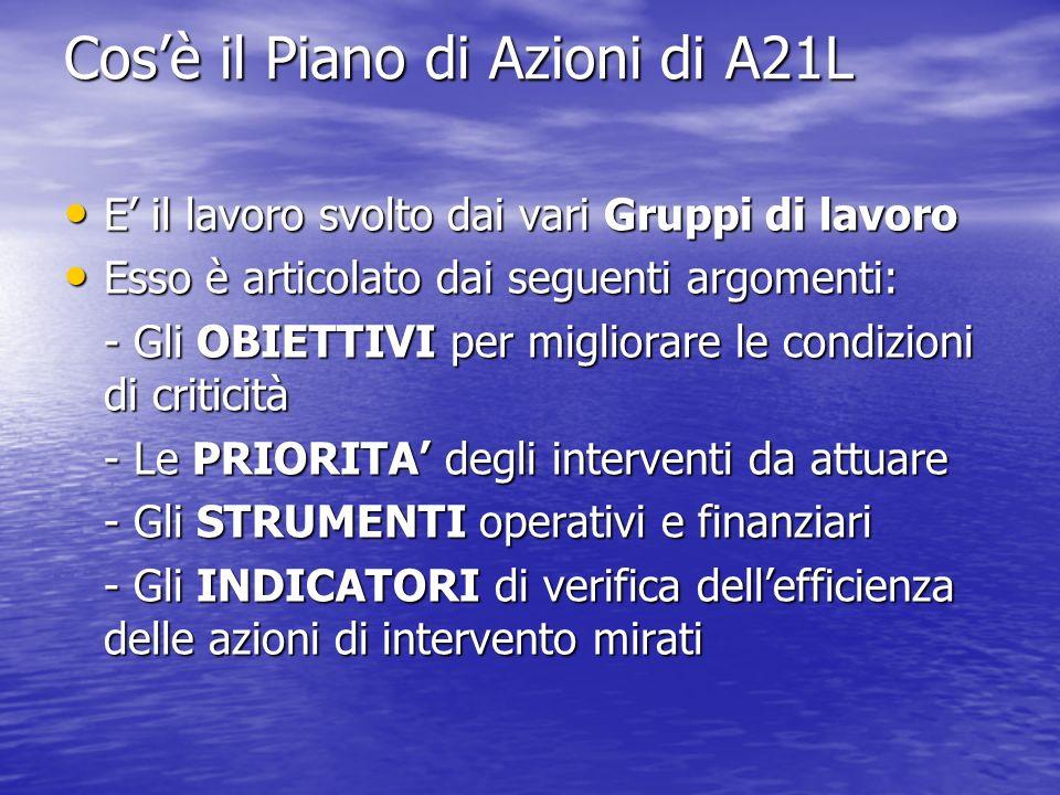 Cosè il Piano di Azioni di A21L E il lavoro svolto dai vari Gruppi di lavoro E il lavoro svolto dai vari Gruppi di lavoro Esso è articolato dai seguen