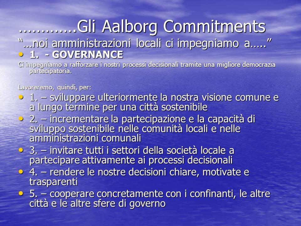 ………….Gli Aalborg Commitments …noi amministrazioni locali ci impegniamo a….. 1. - GOVERNANCE 1. - GOVERNANCE Ci impegniamo a rafforzare i nostri proces