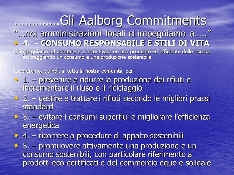 ………….Gli Aalborg Commitments …noi amministrazioni locali ci impegniamo a….. 4. - CONSUMO RESPONSABILE E STILI DI VITA 4. - CONSUMO RESPONSABILE E STIL