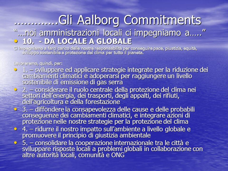 ………….Gli Aalborg Commitments …noi amministrazioni locali ci impegniamo a….. 10. - DA LOCALE A GLOBALE 10. - DA LOCALE A GLOBALE Ci impegniamo a farci