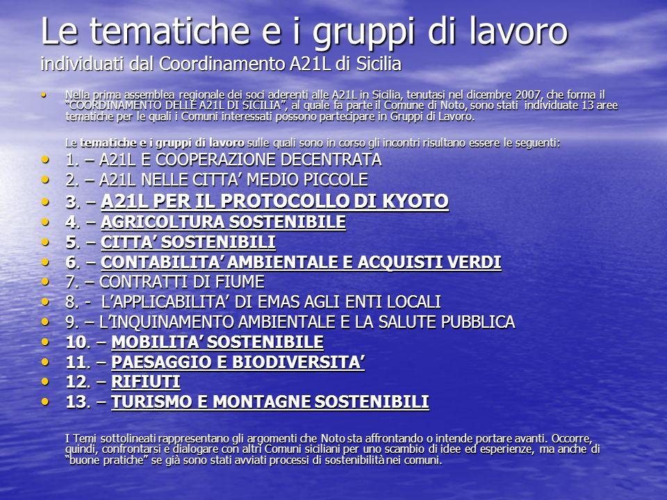 Le tematiche e i gruppi di lavoro individuati dal Coordinamento A21L di Sicilia Nella prima assemblea regionale dei soci aderenti alle A21L in Sicilia