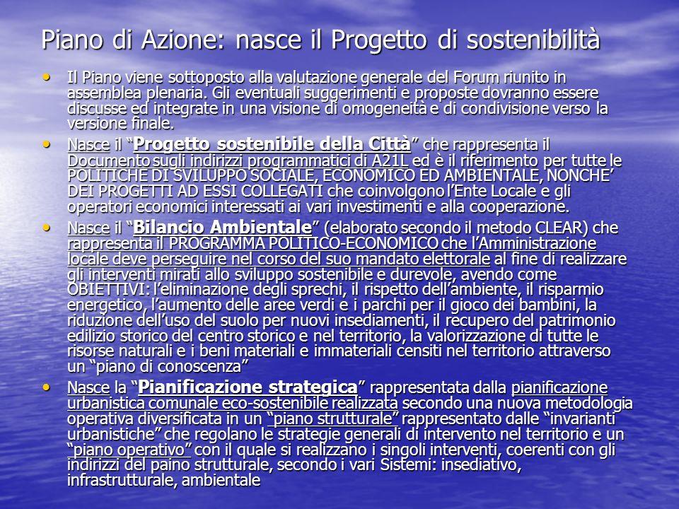 Piano di Azione: nasce il Progetto di sostenibilità Il Piano viene sottoposto alla valutazione generale del Forum riunito in assemblea plenaria. Gli e
