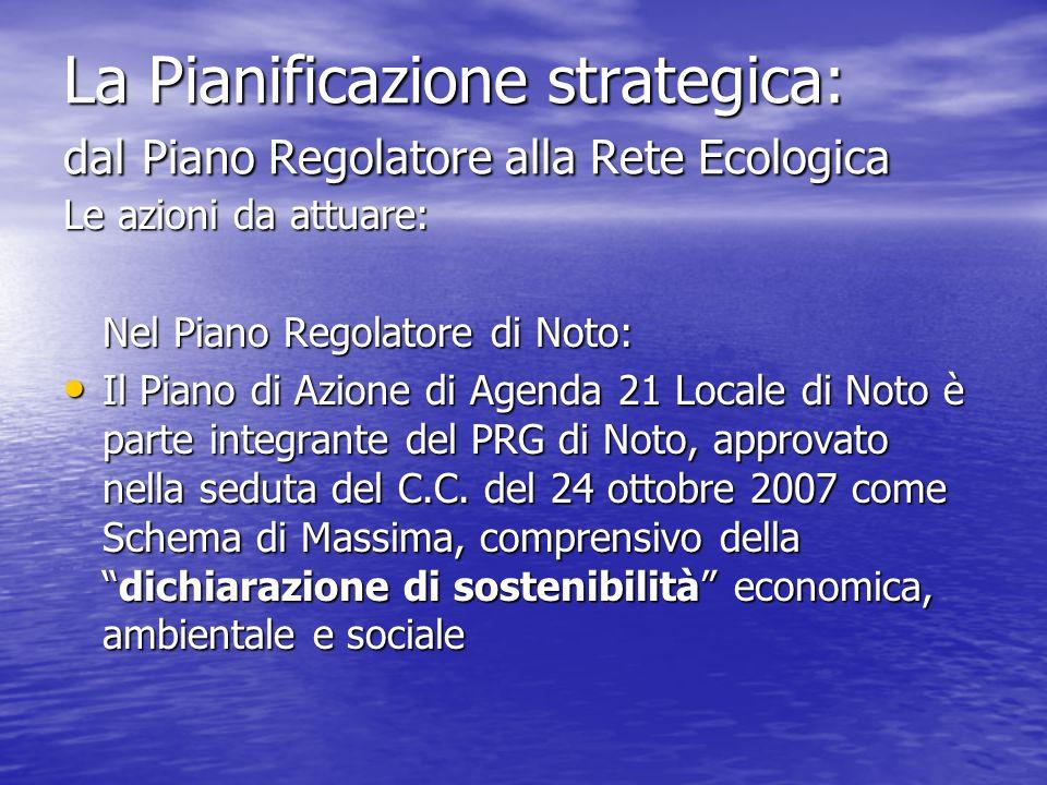 La Pianificazione strategica: dal Piano Regolatore alla Rete Ecologica Le azioni da attuare: Nel Piano Regolatore di Noto: Il Piano di Azione di Agend