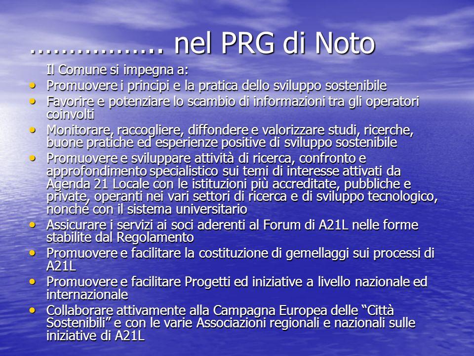 …………….. nel PRG di Noto Il Comune si impegna a: Promuovere i principi e la pratica dello sviluppo sostenibile Promuovere i principi e la pratica dello