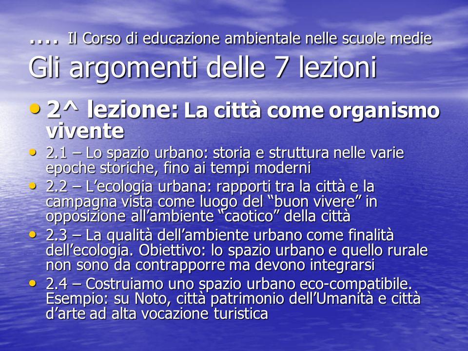 .... Il Corso di educazione ambientale nelle scuole medie Gli argomenti delle 7 lezioni 2^ lezione: La città come organismo vivente 2^ lezione: La cit