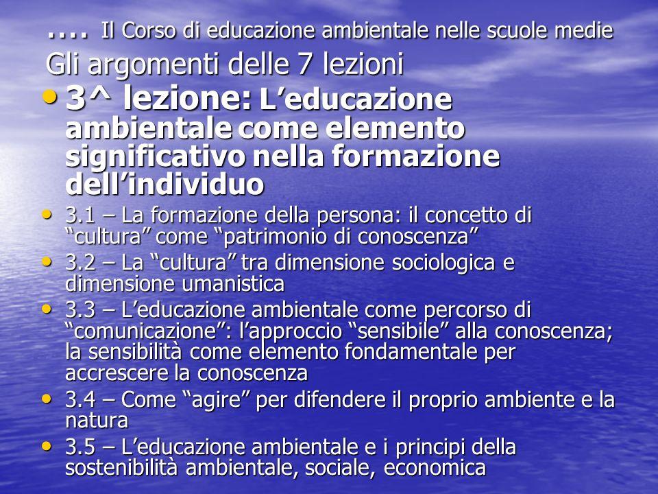 .... Il Corso di educazione ambientale nelle scuole medie Gli argomenti delle 7 lezioni 3^ lezione: Leducazione ambientale come elemento significativo