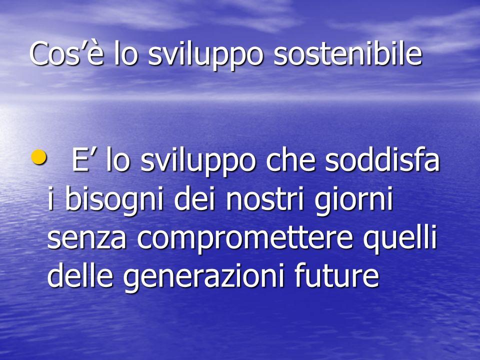 Cosè lo sviluppo sostenibile E lo sviluppo che soddisfa i bisogni dei nostri giorni senza compromettere quelli delle generazioni future E lo sviluppo