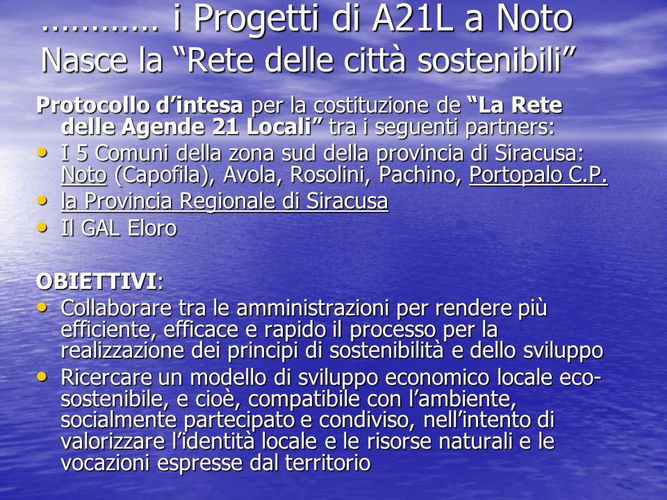 ………… i Progetti di A21L a Noto Nasce la Rete delle città sostenibili Protocollo dintesa per la costituzione de La Rete delle Agende 21 Locali tra i se